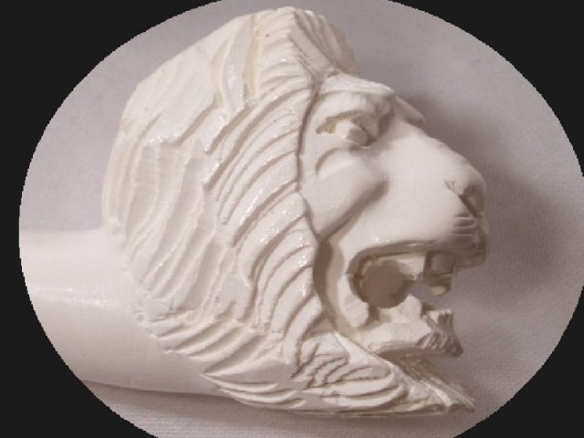 Meerschaum CARVED LION PIPE & hinged CASE