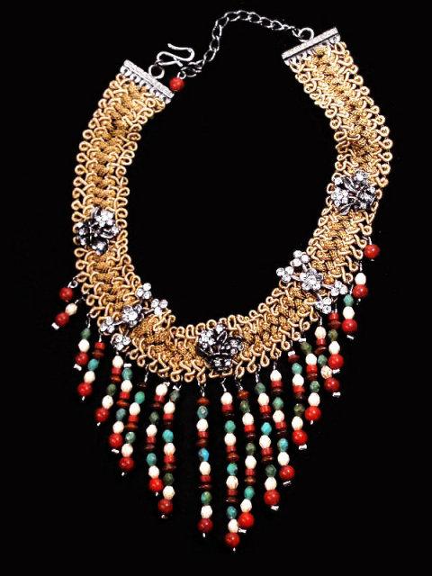 HIPPIE FRINGE Dangling bead rhinestone necklace