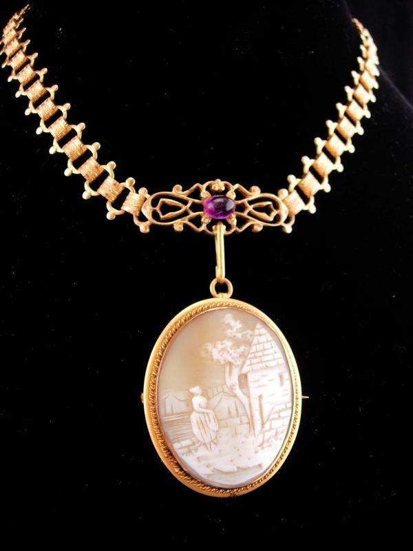 Large Antique brooch / bookchain necklace /  carved victorian Cameo pendant / purple / vintage estate jewelry / cameo necklace