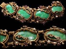 Vintage GOTHIC OLD nouveau slag Big Bracelet Purple rhinestone accents fancy metal work Suffragette