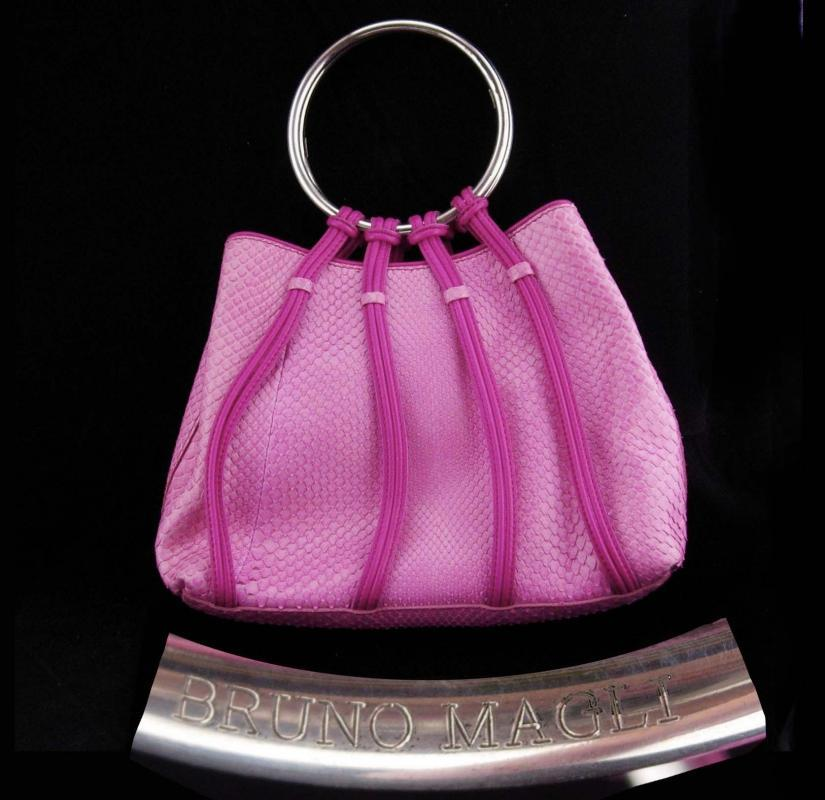 Vintage Bruno Magli Purse  / STERLING handle / Rare handbag / Italy signed / pink clutch / silver Hoop / Italian evening bag / designer purse