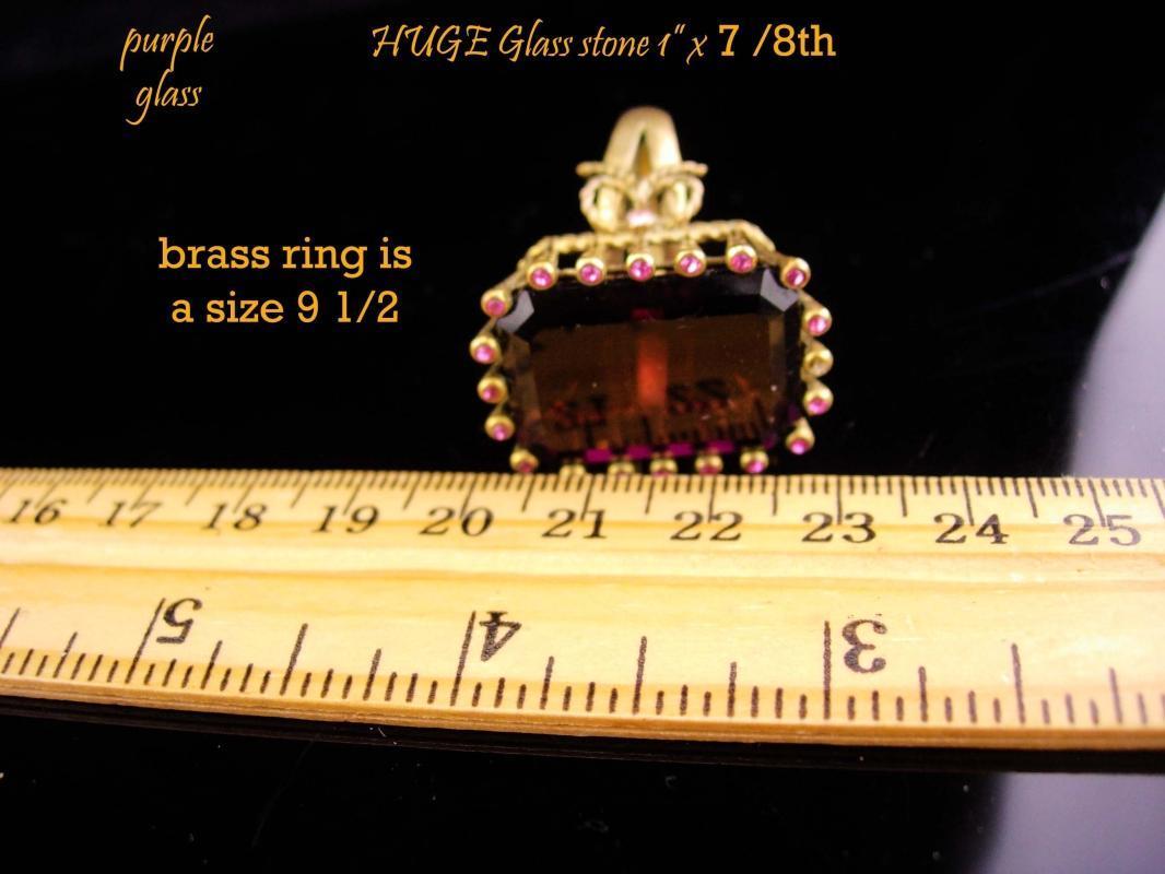 HUGE Ring / Amethyst  costume ring / Dramatic  setting / February Birthstone / size 9 1/2 /  Aquarius horoscope sign