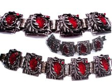 Art Nouveau Fiery RED Czech glass BRACELET