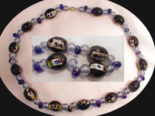 Cobalt BLUE Venetian foil Glass NEcklace