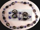 Cobalt BLUE Venetian foil Glass NEcklace