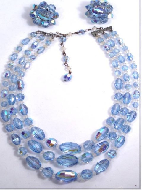 Vintage BLUE BIG GLASS NEcklace ER faceted