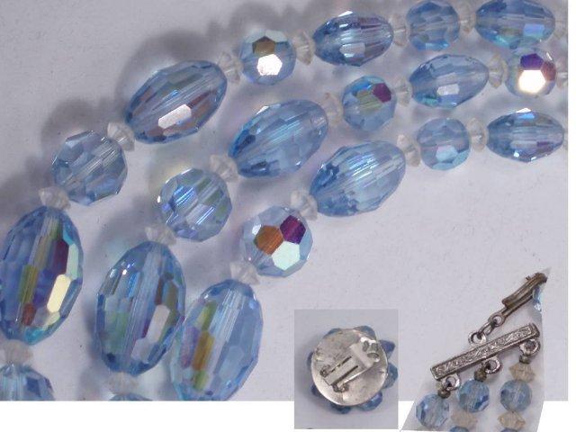 Vintage BLUE BIG GLASS NEcklace ER faceted
