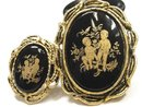 VIntage Victorian Cupid Black GOld Cameo brooch & RING too