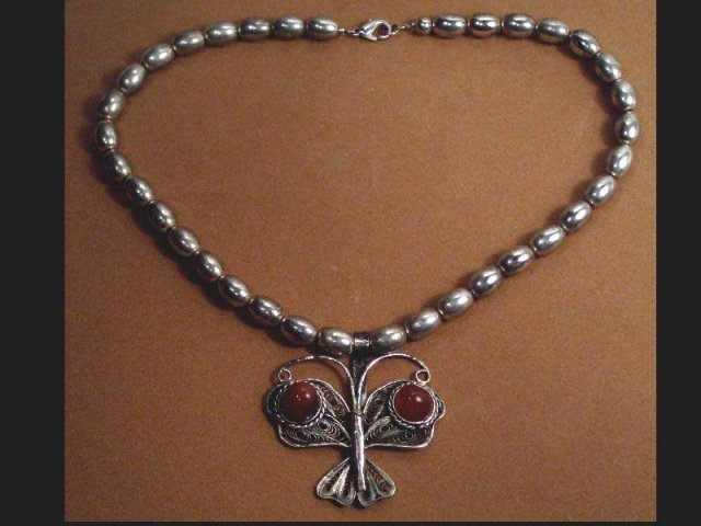 STERLING Modernist Necklace carnelian pendant