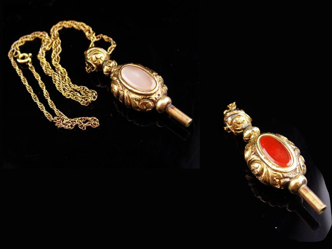 Antique Victorian Fob / 1/20th  12kt gold filled chain /  victorian necklace /  Pocketwatch key / carnelian and sardonyx fob