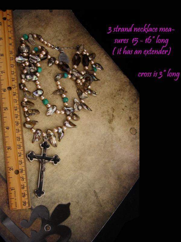 Large Rosary necklace /  Miraculous Medal / Bohemian necklace / Genuine pearls / vintage french medal / assemblage necklace /religious charm