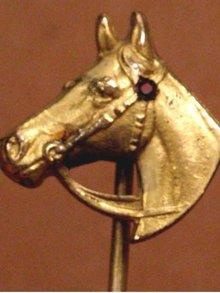 Antique gold Victorian ruby horse head stickpin