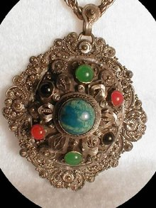 1920's vintage   Gemstone ORnATE Necklace