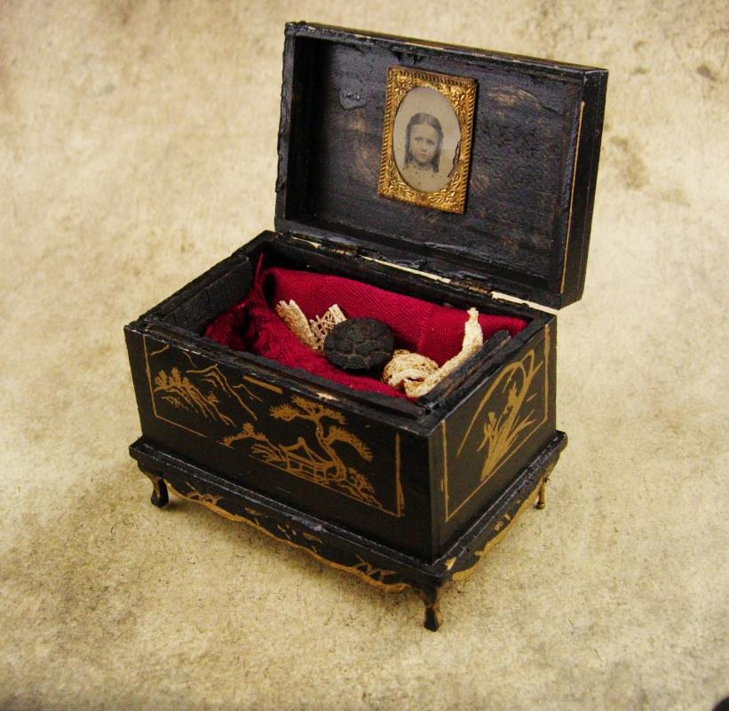Antique Trinket box / child tintype / 1890 victorian button / estate box / keepsake chest / miniature chinese chest / black ring casket