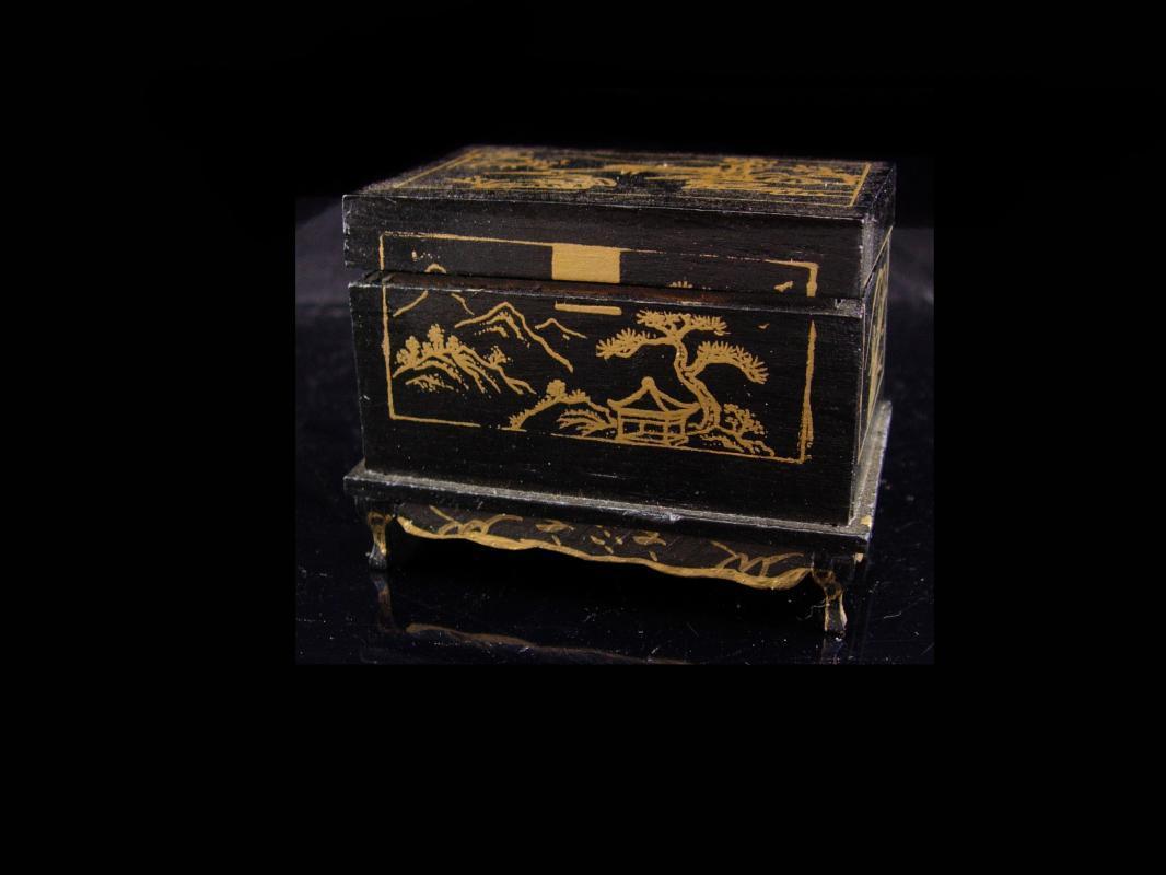 Antique Trinket box / child tintype / 1890 victorian button / estate box / keepsake chest / miniature chinese chest / black ring casket