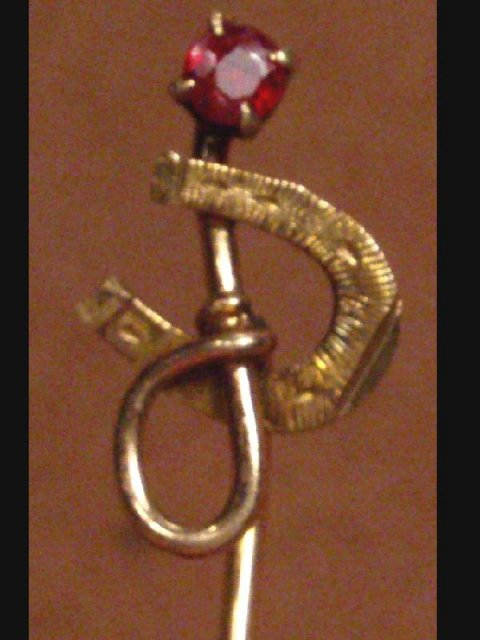 Antique 14kt GOLD RUBY Equestrian STICKPIN