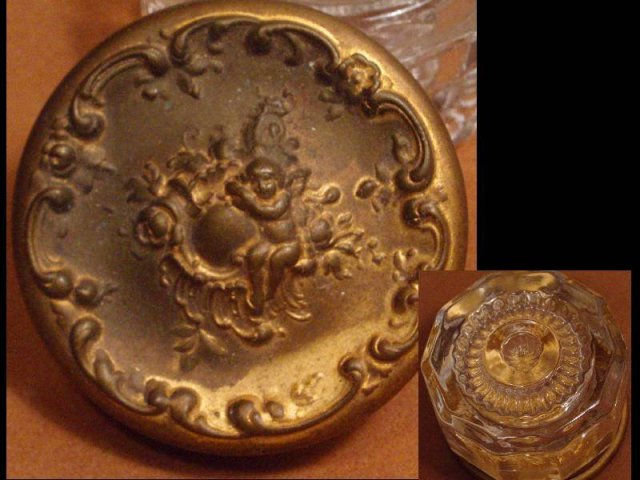 French Ormolu repousse Cherub Glass Vanity box