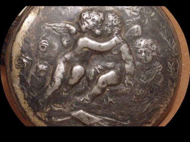 Apollo SILVER CHERUB 19th century Footed vanity