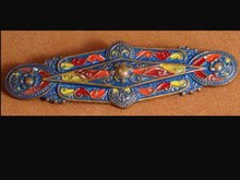 Antique EGYPTIAN REVIVAL ENAMEL Vintage BROOCH