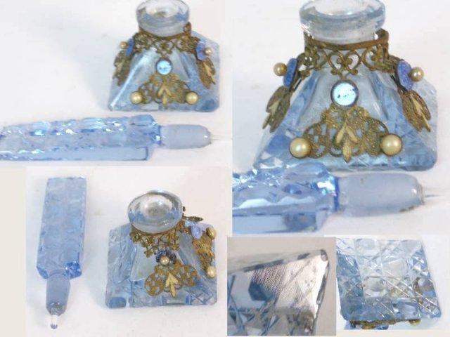 1900 CZECH Hand CUT  brass filigree perfume