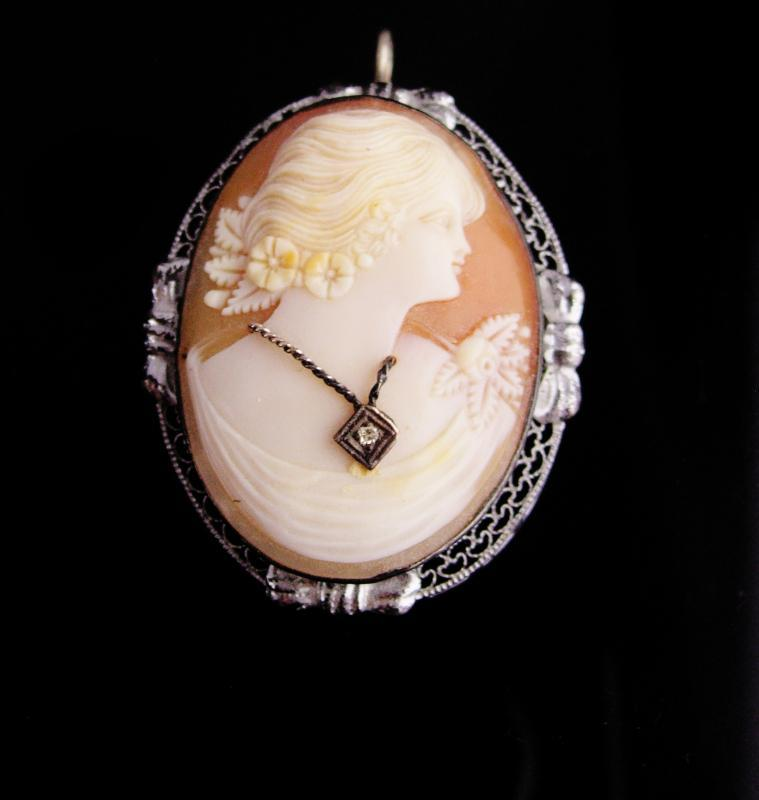 Antique diamond brooch / victorian cameo pendant / Vintage Large Brooch / 60th 75th anniversary / wedding gift / cameo necklace
