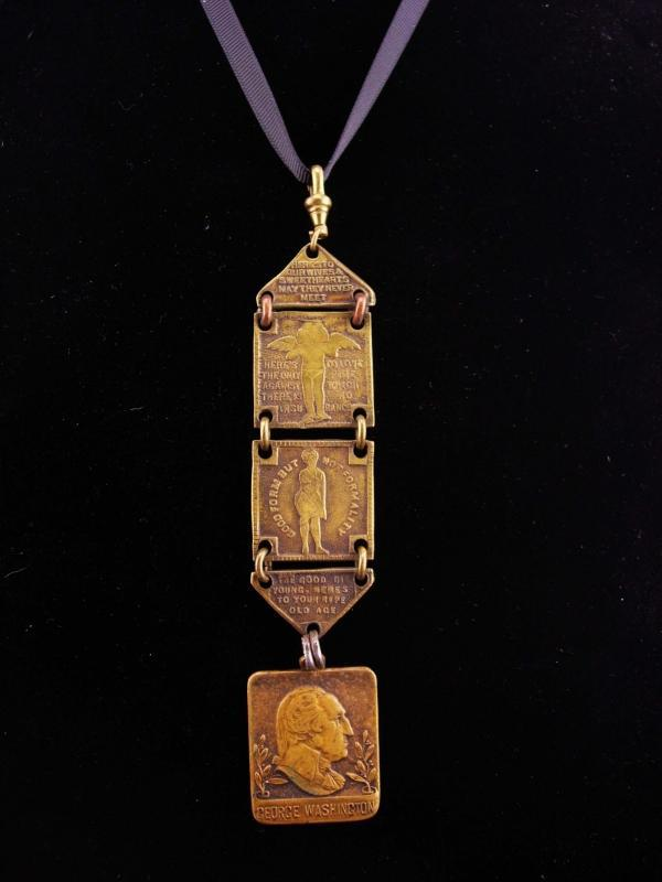 Antique 1917 watch fob / victorian necklace / Pittsburgh Press / george washington / Washington Story Contest / newspaper reporter gift