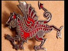 Bizarre Dragon Mythological ENAMEL GOTHIC old Brooch