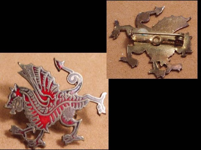 Bizarre Dragon Mythological ENAMEL GOTHIC old Brooch