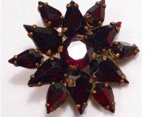 Vintage DECO BOHEMIAN GARNET  Cluster brooch
