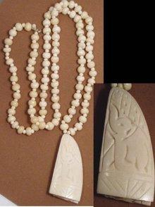 PRIMITIVE Ivory BONE Carved Pendant necklace hand sewn