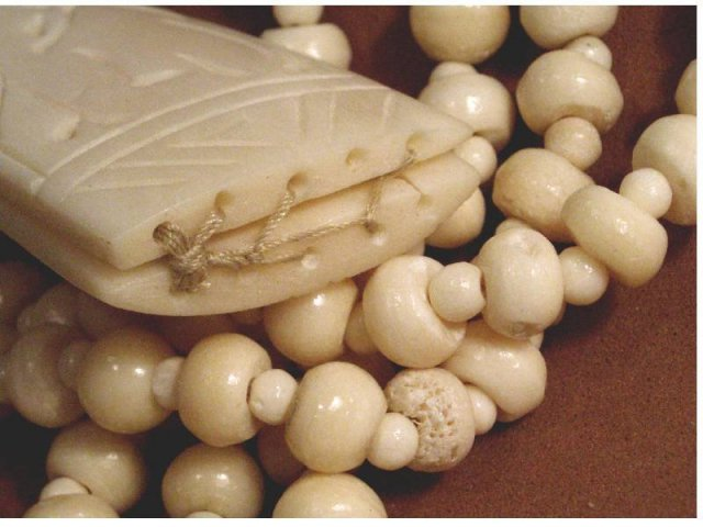 PRIMITIVE Ivory BONE Carved Pendant necklace hand sewn