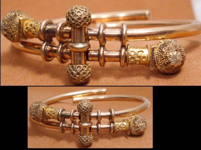 Antique 1882 9KT rose Gold bracelet Victorian ETRUSCAN Ball Bypass hinged  march21 estate jewelry