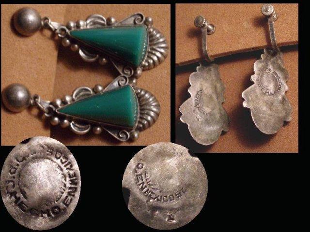DECO sterling Onyx large dangle drop earrings
