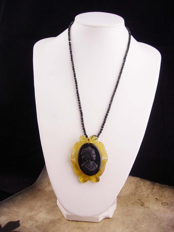 Black Mourning Cameo / vintage cameo necklace / black glass beads / carved lucite / victorian Choker necklace
