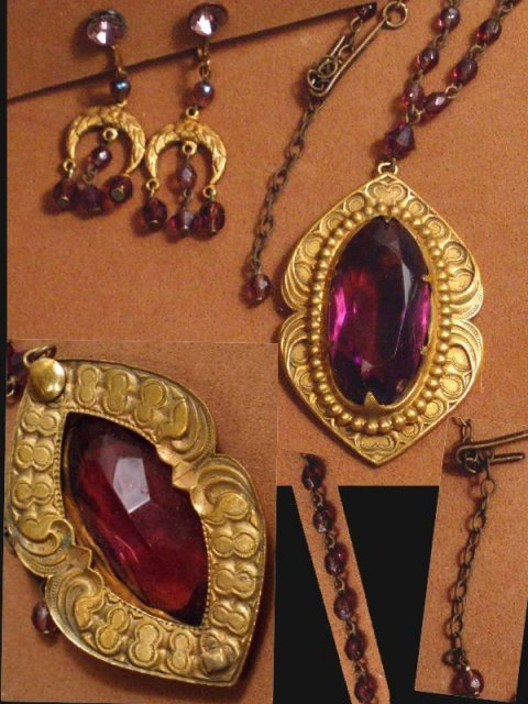 Victorian NECKLACE chandelier purple amethyst jewelry