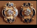 Vintage Enamel Brilliant Rhinestone  earrings