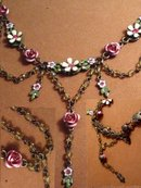 Enamel FLORAL Edwardian style jeweled necklace