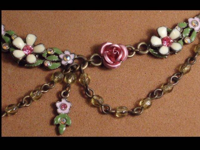 Enamel FLORAL Edwardian style jeweled necklace