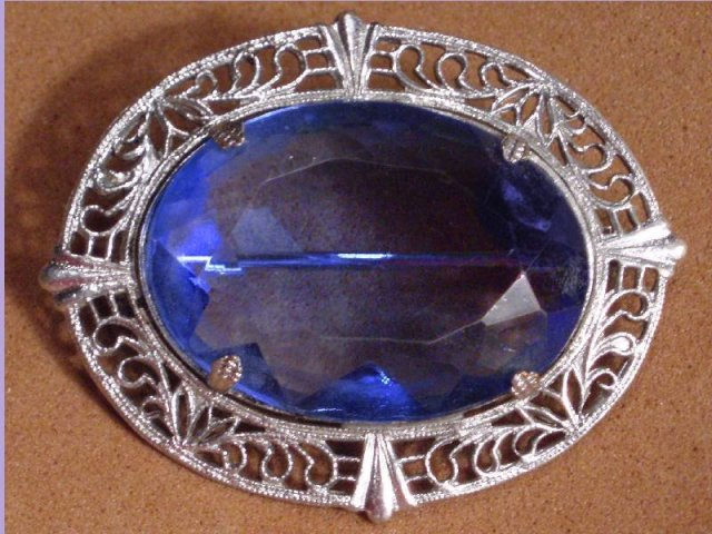 LARGE VINTAGE  DECO BLUE JEWELED BROOCH STUNNING