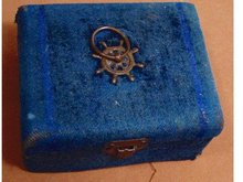 19th century velvet Marine ships wheel Sewing box Ivory bodkins