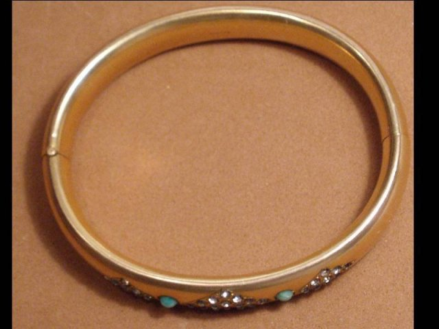 Vintage Edwardian Bracelet 9KT GOLD filled Turquoise and paste stones