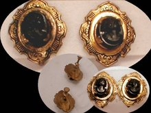 Victorian MOURNING  cameo enamel earrings