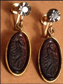 Vintage NOUVEAU cameo Goddess  EARRINGS