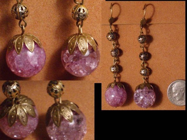 ART DECO Genuine amethyst DROP earrings
