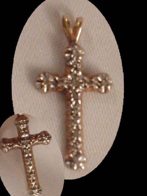 Edwardian genuine DIAMOND 10kt GOLD CROSS