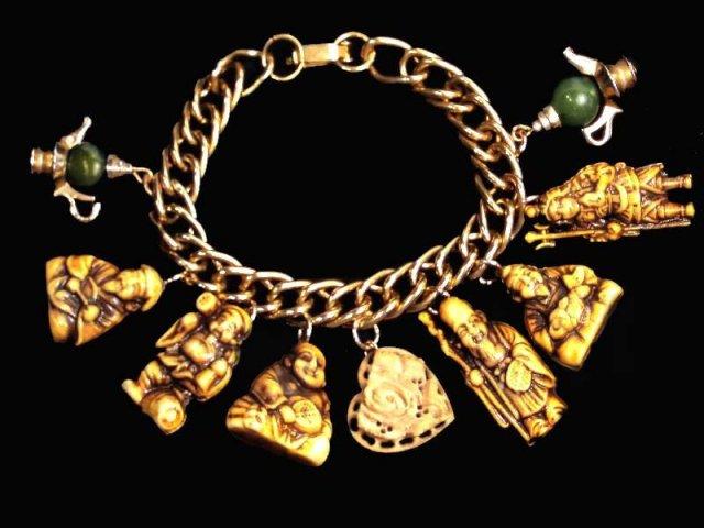 6 JAPANESE Gods jade BIG figural charm