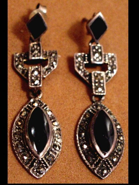 Deco STERLING Marcasite DROP earrings