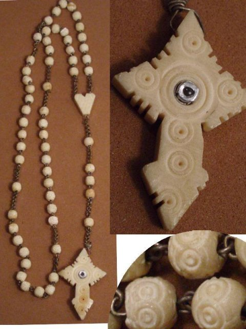 French Ivory Bone STANHOPE ROSARY Cross Carved