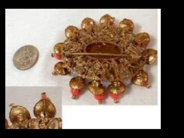 OLD Haskell style brooch Egyptian coral Trembler PIN