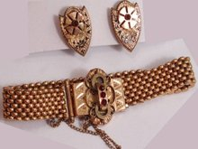 Victorian 10kt rose gold garnet slide bracelet Earrings